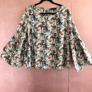 ANTHRO SANCTUARY Floral Bell Sleeve Top